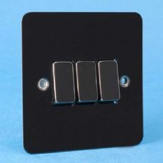 Varilight 3 Gang 1 or 2 Way 10A Rocker Light Switch Ultra Flat Iridium Black XFI3D